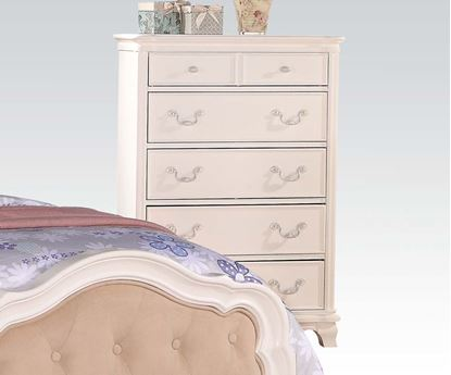 Picture of Ira Two Tone Youth Chest with 2 Hidden Drawers in White Finish