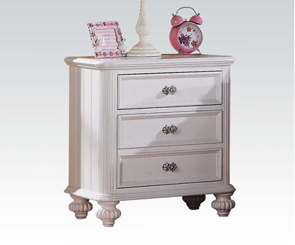 Picture of Athena White Finish Nightstand w/ Glass Hardware Drawers