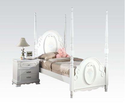 Picture of Flora White Finish Twin Size Post Bed