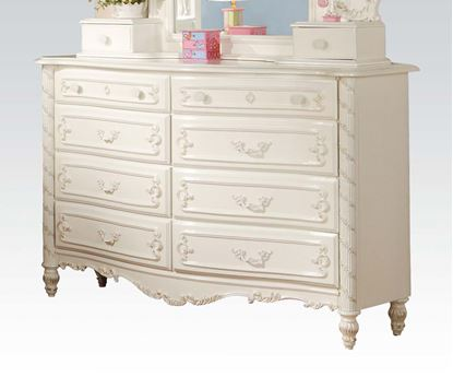 Picture of Pearl White Finish Wood 8 Drawer Dresser