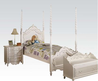 Picture of Pearl White Finish Post Twin Bed for Girls