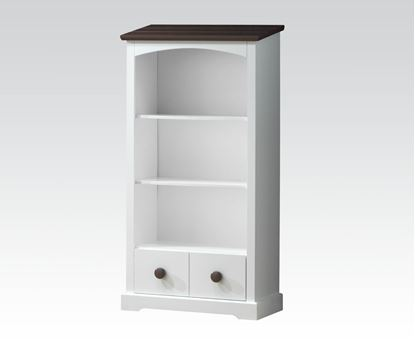 Picture of Docila White and Chocolate Finish Bookcase w/Drawer