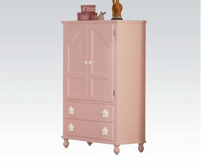 Picture of Floresville Pink Wood Kids TV Armoire