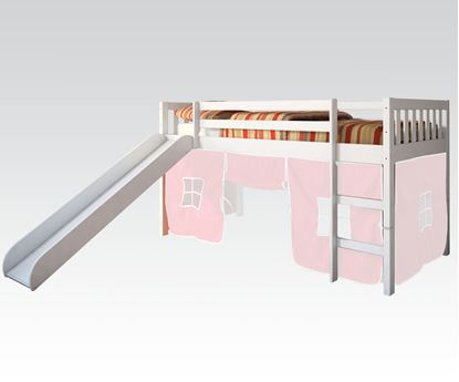 Picture of Modern White Kids Twin Loft Bed with Slide