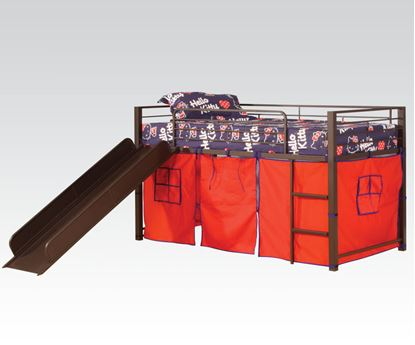 Picture of Kids Loft Bed With Slide & Red Tent