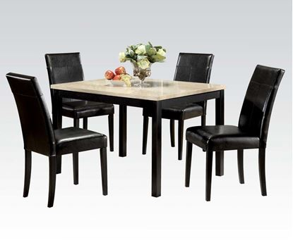Picture of 5 PCs. White Faux Marble Top Dining Table w/ Side Chairs