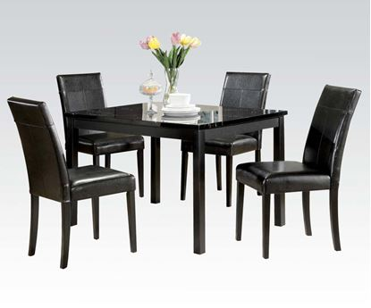Picture of 5 PCs. Black Faux Marble Top Dining Table w/ Side Chairs