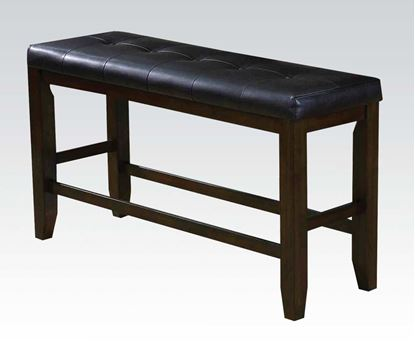 Picture of Urbana Espresso Wood Counter Height Bench with Black PU Cushion