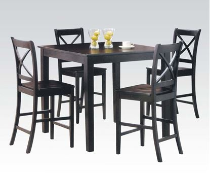 Picture of 5 PCs. Pack Dark Cappuccino Finish Counter Height Table Set