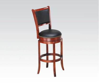 Picture of Contemporary Oak Finish High Back Swivel Stool