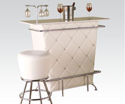 Picture of Tashara White Bar Table with Wine Rack