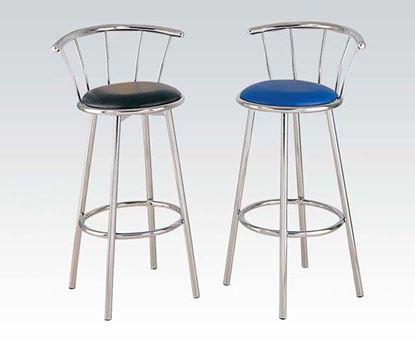 Picture of Contemporary Blue Chrome Plated Swivel Bar Chair    (Set of 2)