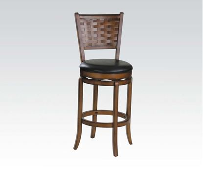 "Picture of Transitional Woven Walnut & Black 30"" Seat Height Swivel Bar Stool"