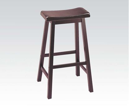 "Picture of Contemporary Walnut Finish 29"" Seat Height Solid Wood Stool  (Set of 2)"