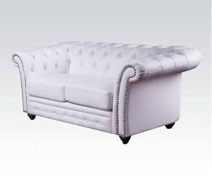 Picture of Contemporary White Bonded Leather Loveseat