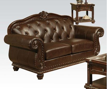 Picture of Anondale Traditional Top Grain Leather Cherry Loveseat