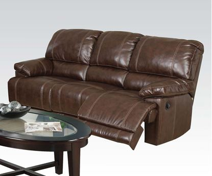 Picture of Daishiro Motion Chestnut Bonded Leather Sofa
