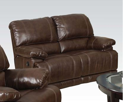 Picture of Daishiro Motion Chestnut Bonded Leather Loveseat