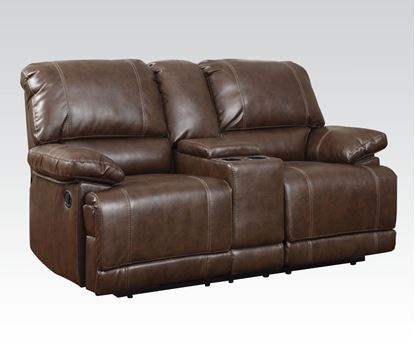 Picture of Daishiro Motion Chestnut Bonded Leather Loveseat W/Console