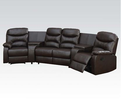 Picture of Spokane Brown Bonded Leather Match Home Theatre Sectional Set