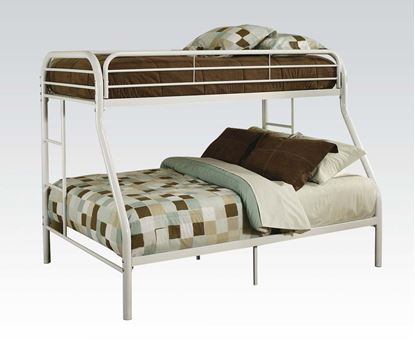 """Picture of 2"""" Tube White Finish Twin Over Full Metal Bunk Bed"""