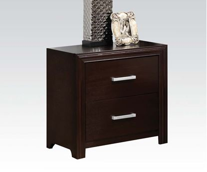 Picture of Ajay Black PVC / Espresso Finish Nightstand