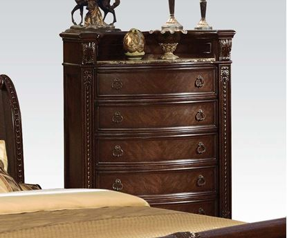 Picture of Anondale Traditional Cherry Finish Wood Chest with Marble Top