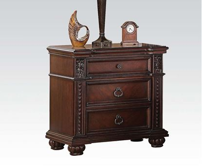 Picture of Daruka Traditional Cherry Finish 3 Drawers Nightstands