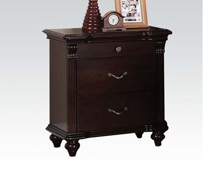 Picture of Cleveland Carving Dark Cherry Finish 3 Drawers Nightstand