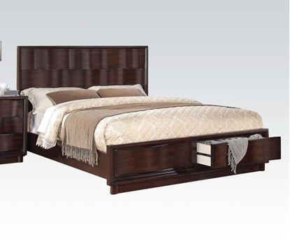 Picture of Travell High Back Walnut Finish Queen Storage Bed