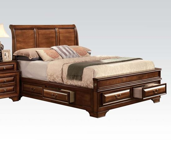 Picture of Konance Brown Cherry Finish Eastern King Sleigh Bed