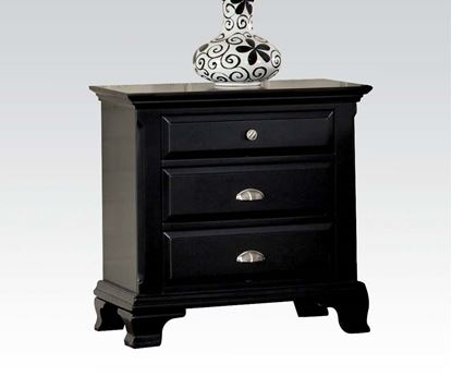 Picture of Canterbury Contemporary Black Wood Nightstand 3 Drawers