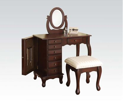Picture of 3pc Vanity Stool and Mirror in Walnut Finish