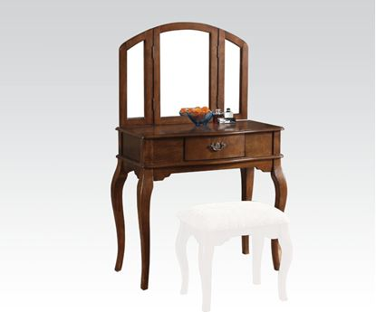 Picture of Oak Finish Vanity Set and Stool with Tri fold Mirror