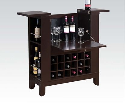 Picture of Nelson Dark Brown Finish Wood Bar Cabinet