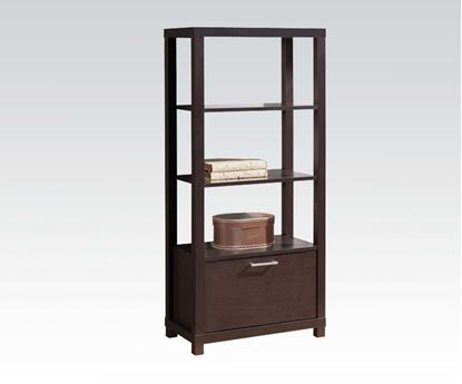 Picture of Carmeno Espresso Wood 3 Tier Book Case Shelf Unit with Lower Cabinet