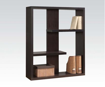 Picture of Carmeno Espresso Finish Wood 3 Tier Alternating Book Case Shelf Unit