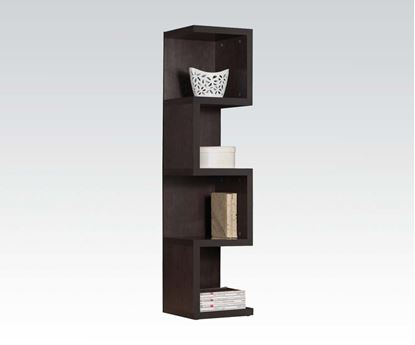 Picture of Carmeno Espresso Finish Wood 4 Tier Corner Book Case Shelf Unit