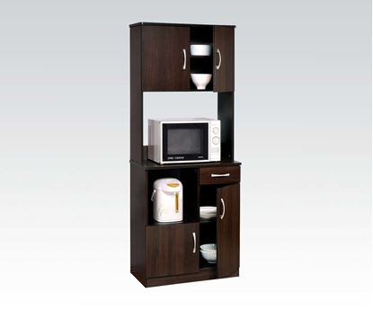 Picture of Espresso Wood Kitchen Cabinet Cart with Storage Shelves