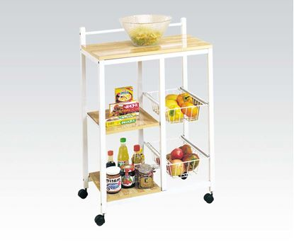Picture of Contemporary Modern White Metal Kitchen Cart