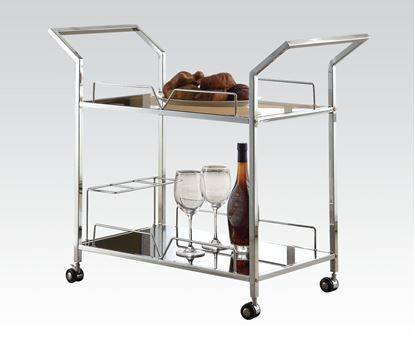 Picture of Modern Chrome Metal 2 Shelf Kitchen Cart with Wheels