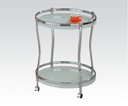 Picture of Corey Chrome Finish Serving Cart W/ White Glass