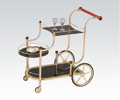 Picture of Mace Golden Plated with Black Tempered Glass Serving Cart