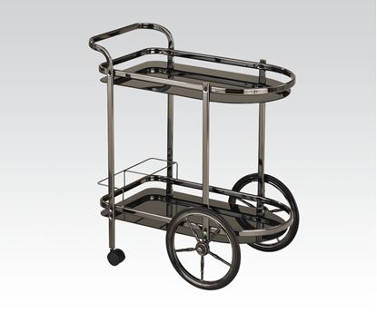 Picture of Anil Black Nickel Serving Cart w/5mm Tempered Black Glass