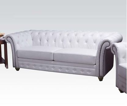 Picture of Contemporary White Bonded Leather Sofa